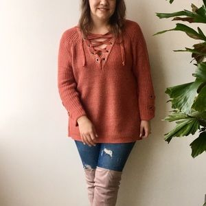 Dusty Coral Lace-Up Sweater